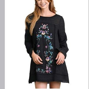 Umgee Floral Embroidered Ruffled Long Sleeve Dress